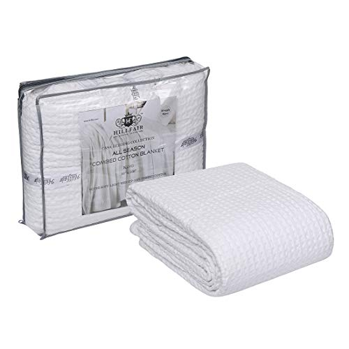 HILLFAIR 100% Combed Cotton Blanket- King Size Bed Blankets- Warm Soft All Season Breathable Lightweight Summer Blankets- Waffle Weave Home Decor Bed Blanket- White King Bed Cotton Blankets/Bedcovers