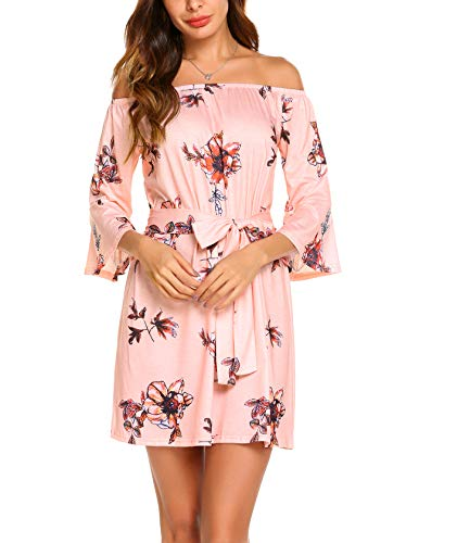 OURS Women's Summer Off Shoulder Casual Floral Mini Dress with Belt (S, (Pink Floral Summer Dress)