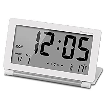 Ceebon, orologio da viaggio, mini sveglia pieghevole da scrivania, elettronico, digitale, silenzioso, con temperatura, calendario settimanale, funzione di snooze ripetuto e grande schermo digitale LCD, per casa, ufficio, viaggi White 341