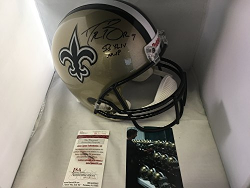 Drew Brees Autographed Signed New Orleans Saints Full Size Helmet SB XLIV MVP INSCRIBED JSA Witnessed COA & Hologram W/Photo From Signing