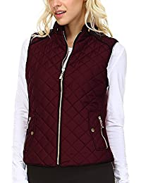 Women's Lightweight Suede Contrast Quilted Zip Up Vest Jacket