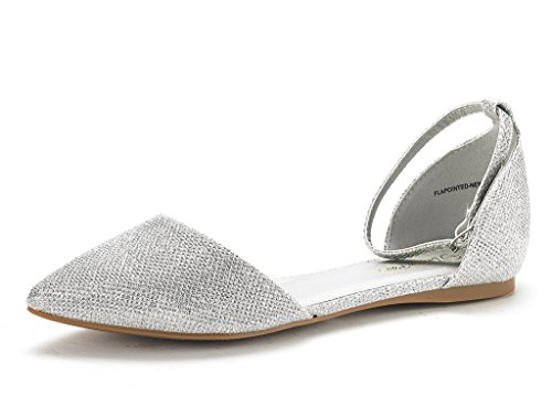 Dream Pairs Women's Flapointed-New Silver Glitter D'orsay Ballet Flats Shoes - 10 M US