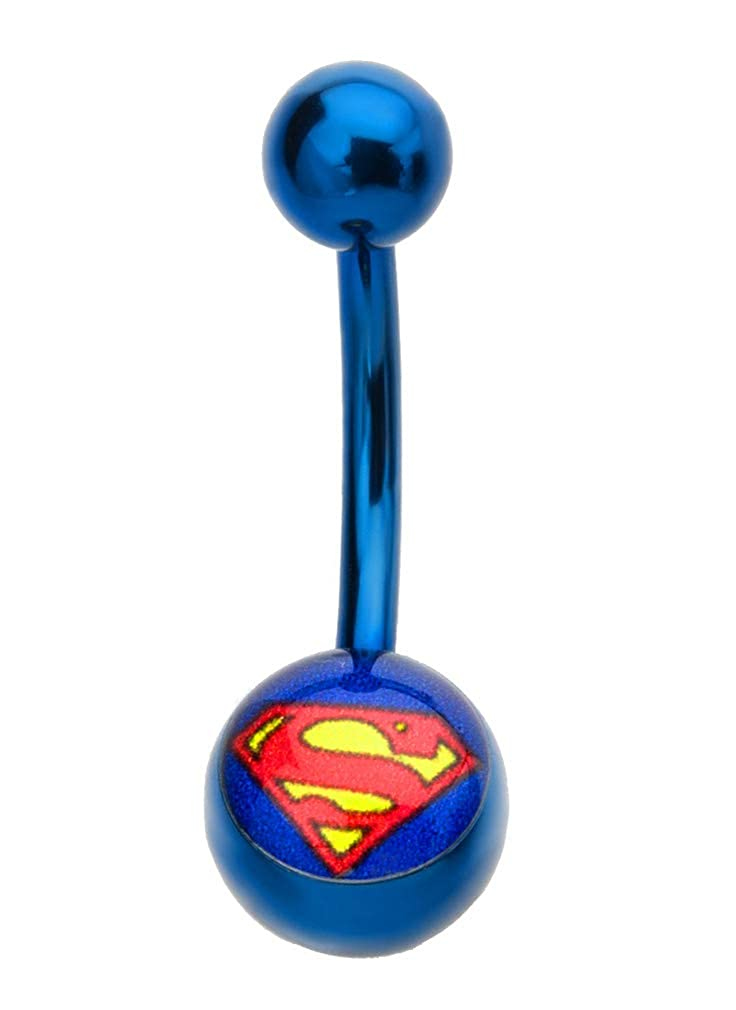playful piercings Bright Blue Superman Red /& Yellow Logo Belly Navel Ring Licensed Dc Comics 14g