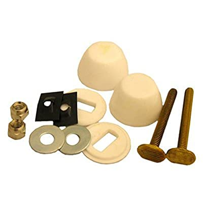 LASCO 04-3639 Toilet Bolt Kit, 2-1/4-Inch Solid Brass Bolt, 1/4-Inch Acorn Nuts, Stainless Steel Washers and Round Cover Caps, White