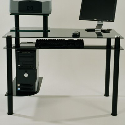 RTA Home and Office CT-009 Clear Glass and Aluminum Computer Desk
