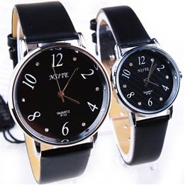 (Concise Dial Pointer Round Case Artificial Leather Watch Belt Couple Wrist)