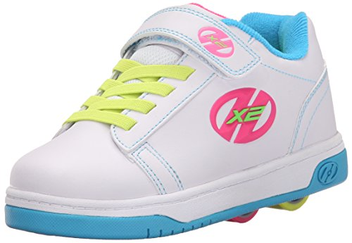 Heelys Dual Up X2 PU Sneaker (Little Kid/Big Kid), White/Neon Multi, 1 M US Little Kid by Heelys