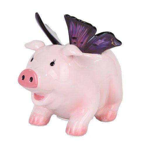 Ptc Group 9878 Ceramic Butterfly Pig Savings Piggy/Coin/M...