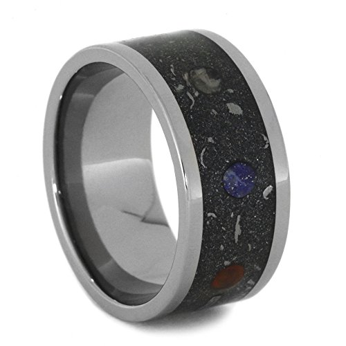 Planet Ring with Gibeon Meteorite, Real Stardust 10mm Comfort Fit Titanium Band, Size 8 by The Men's Jewelry Store (Unisex Jewelry)