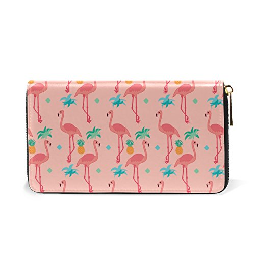 TIZORAX Purses Flamingoes Handbags Wallet Clutch Organizer Womens Pink Leaves And Pattern Around 5 Zip Green rYq5rwz