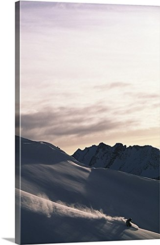 Premium Thick-Wrap Canvas Wall Art Print entitled Snowboarder on mountain snowboarding