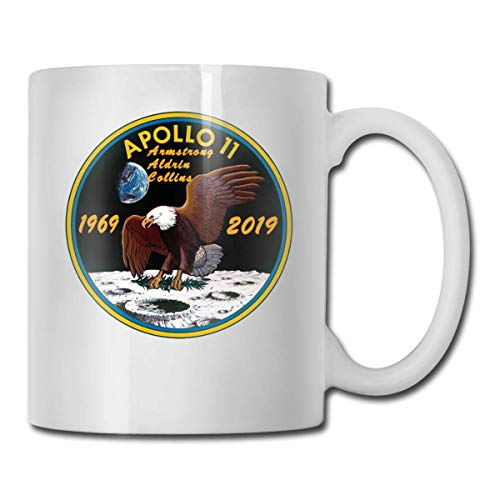 Apollo 11 50th Anniversary Logo Funny Coffee Mug Cool Coffee Tea Cup 11 Ounces Perfect Gift for Family and Friend