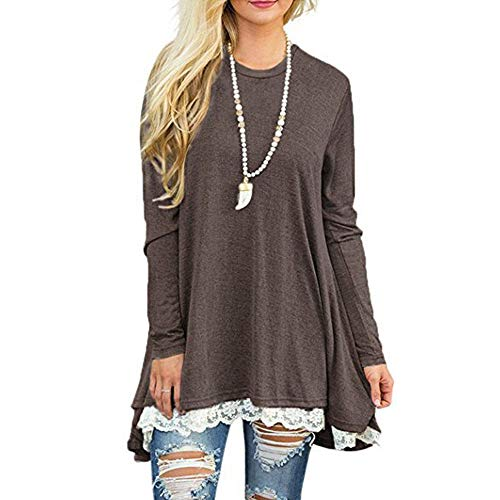 Dressin Womens Ladies Casual Lace Long Sleeve Shirt