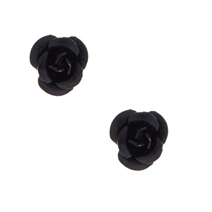 49270993e Amazon.com: Claire's Girl's Sterling Silver Black Carved Rose Stud Earring:  Claire's: Toys & Games