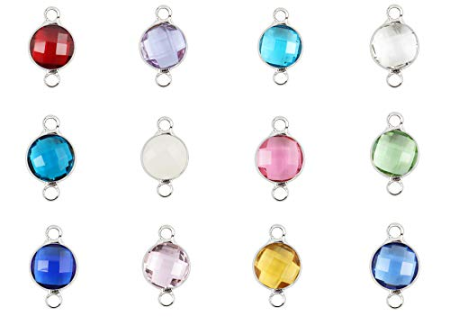 (1 Set Mixed Birthstone Charm Connectors 6mm Austrian Crystal Beads Sterling Silver Plated (12pcs) for Jewelry Craft Making CCP1-S)