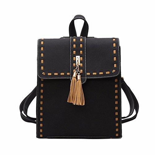BAILIANG Mochila Mujer 2018 Fashion Tassel Multi-purpose PU Color Sólido Ladies Shopping Bolso De Hombro Black