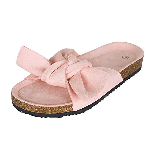 Womens Platform Slides Slip On Open Toe Bowknot Flat Cork Sandals Summer Casual Flats Pink