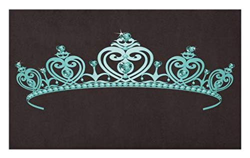 Lunarable Princess Doormat, Fairytale Character Costume Tiara Crown with Vibrant Heart Figures Girls Kids Theme, Decorative Polyester Floor Mat with Non-Skid Backing, 30 W X 18 L Inches, Turquoise -