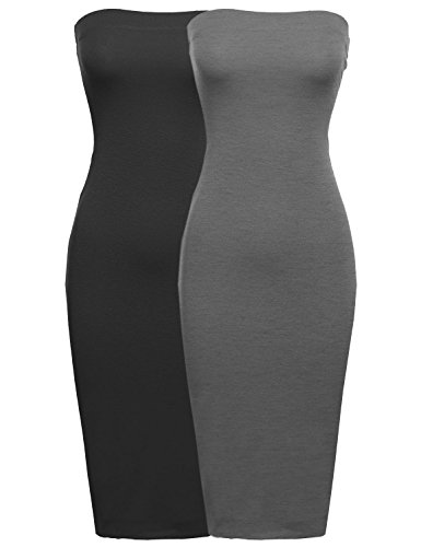 Made by Emma Sexy Comfortable Tube Top Body-Con Midi Dress In Various Colors Blk/Charcoal (Made Body)