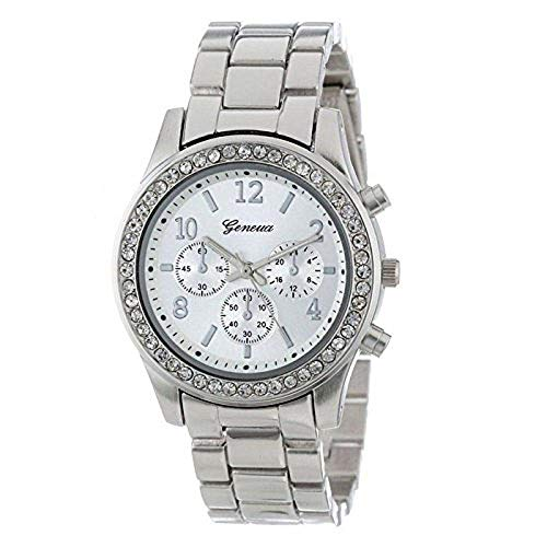 FAVOT Crystal Watch, Women's Fashion Imitation Stone Diamond Chronograph Quartz Classic Round Clock ()