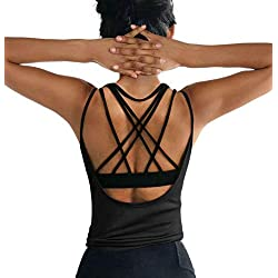 OYANUS Womens Summer Workout Tops Sexy Backless Yoga Shirts Loose Open Back Running Sports Tank Tops Cute Muscle Tank Sleeveless Gym Fitness Quick Dry Activewear Clothes for Juniors Black M