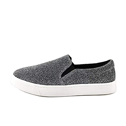 SODA Reign Slip On Faux Suede Sneaker, Closed Toe w/Memory Foam Insole Reign(8.5, Metallic)