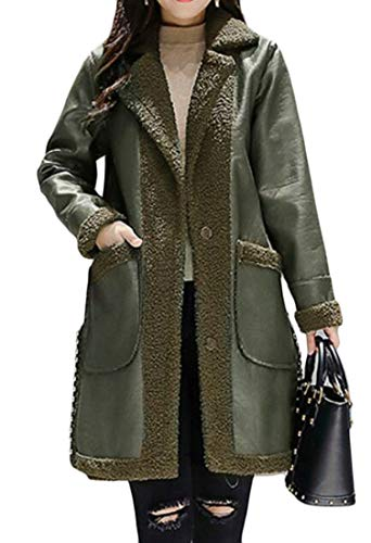 Etecredpow Womens Casual Fleece Lined Lapel Single Breasted Beaded Parkas Coat Army Green Large