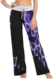 Womens Pajama Lounge Pants Purple Butterfly Art Wide Leg Casual Palazzo Pj Sleep Pants Girls