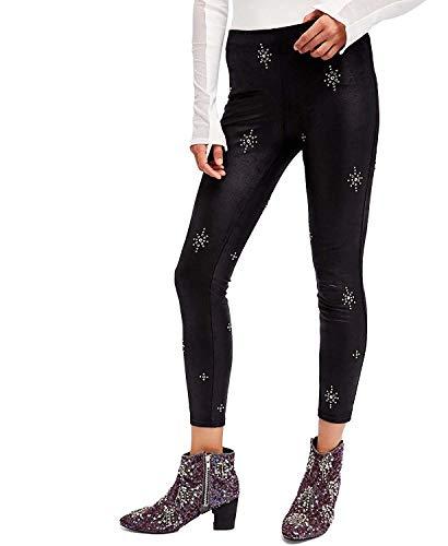 Free People Women's Embellished Faux Leather Skinny Pants Black 30