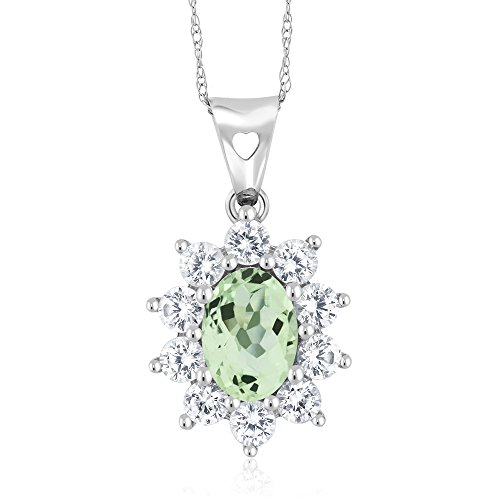 10K White Gold 1.25 Ct Green Amethyst Women's Oval Halo Pendant with Chain (Amethyst Sapphire Green & Necklace)