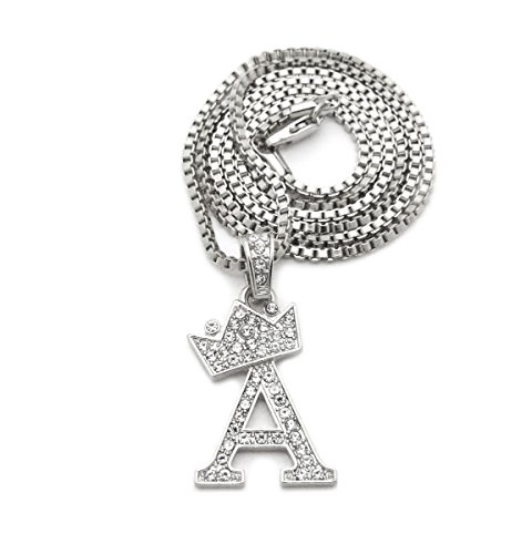 """Unisex Small Size Pave Crown Tilted Initial Alphabet Letter Pendant 2mm 24"""" Box Chain Necklace in Gold, Silver Tone (A - Silver Tone)"""