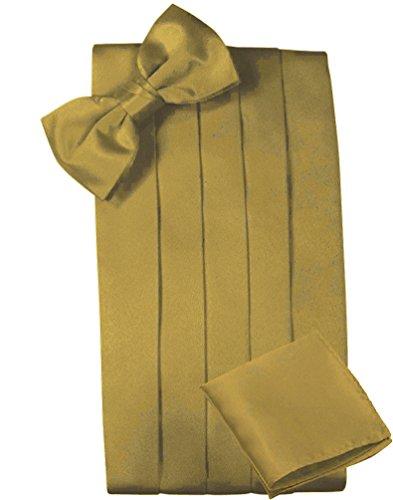 Mens Satin Cummerbund Bowtie Hanky set, 4 Pleat, Large Variety of Solid Colors Available, by Platinum Hanger (Gold)