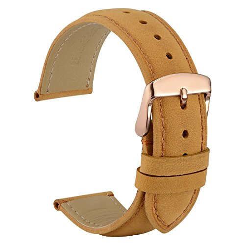 WOCCI 18mm Watch Band - Vintage Leather Watch Strap Light Brown with Rose Gold Buckle (Tone on Tone Stitching)
