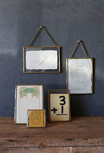 Creative Coop Brass  Glass Photo Frame with Gold Finish  Hinged Opening