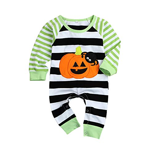 Newborn Baby Halloween Jumpsuit Boys Girls Long Sleeve Pumpkin Spider Striped Romper Onesie Outfit Clothes (Black, 0-6 Months)