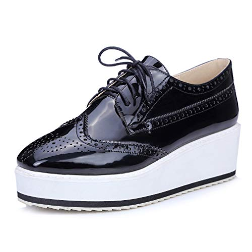 Women's Patent Wingtip Oxfords PU Leather Lace Up Platform Wedge Brogues Sneakers Shoes -