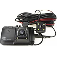 SKydot Car DVR Outside and Inside Dash Cam With Dual Cameras Front and Rear Record 3.0 Inch Night Vision Dashboard Full HD 1080P Loop Recording Auto Video Recorder