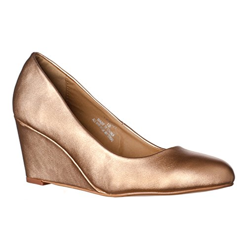 Riverberry Women's Leah Mid Heel Round Toe Wedge Pumps, Rose Gold PU, 9 Sexy Gold Pu Women Shoes