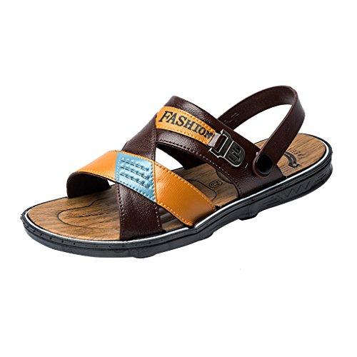 ACMEDE Men Sandals Leisure Lightweight Open Toe Slide Buckle Fashion Beach Pool Holidays Summer Men Flip Flops Brown
