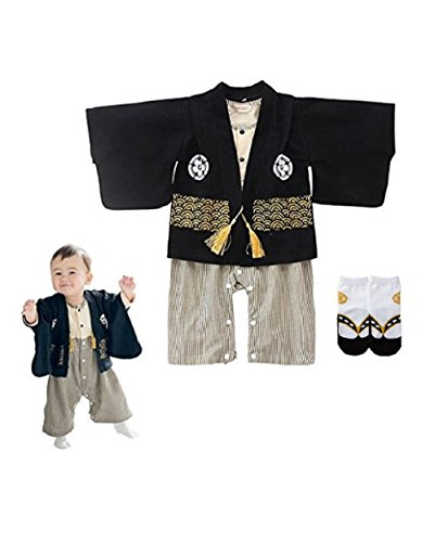 Baby toddler celebration costume for boys (Japanese Kimono) Japanese style socks included,Black Gold,24 Months - 36Months (Japanese Kimono Gold)