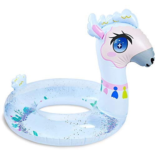 Uneat Llama Pool Floats for Kids, Children Swim Tube with Glitters Inside - Cute Inflatable Swim Ring for Boys & Girls (30