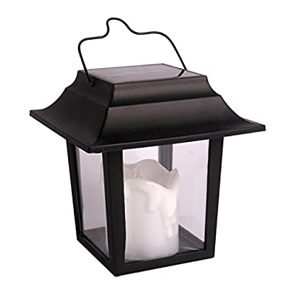 "Black Hanging Led Candles Lamp Vintage Flameless Led Candles for Backyard Patio Path Night Lights 6"" Solar Power Hanging Lantern Flickering Amber Lightings Garden Lawn Umbrella Decoration"