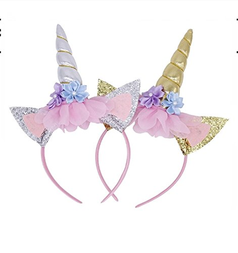 Gold Unicorn Headband By Party Now, Birthday Decoration Headbands, Flowers Prop For Princess Fantasy Dress Up, Cosplay Horn, Halloween Animal Ears Costume, Unicorn Headband Adult for $<!--$1.99-->