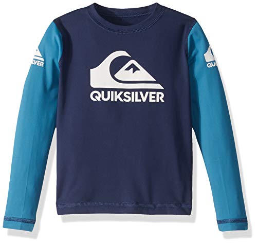 Quiksilver Big Heats ON Long Sleeve BOY Rashguard UPF 50+ Sun Protection, Medieval Blue, 2
