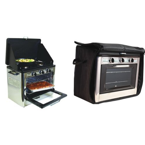 Camp Chef Camping Outdoor Oven with 2 Burner Camping Stove and Camp Chef Outdoor Camp Oven Bag Fits COven Black Bundle