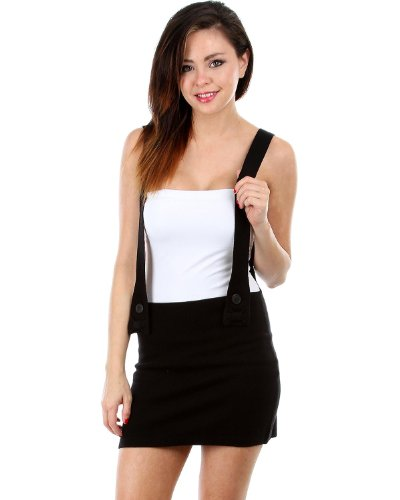 G2 Fashion Square Women's Solid Wool Suspender Skirt