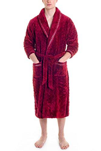 MyDream Mens Fleece Robe Long Plush Super Soft and Warm Bathrobe Cozy Fluffy Shower Robe