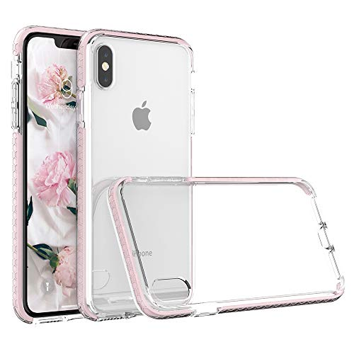 SURPHY Clear Case for iPhone Xs iPhone X Case, Slim TPU Bumper Transparent Shockproof Protective Phone Case Cover (No Bubbles & Anti-Yellow) Compatible for iPhone Xs X 5.8, Pink