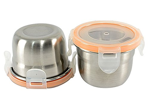 Mighty Hippo Round Stainless Steel Mini Container - 2 Pack Set - Spill and Leak Proof/Perfect for Salad Dressings - Dips - Sauces - Condiments - Baby Food and Snacks/Dishwasher Safe/Metal / 4 oz