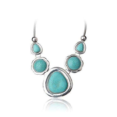 Ginasy Turquoise Gemstone Big Geometric Pendent Necklace (19.3